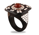 Ebony Wood Silver Rings