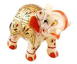 Gold Painted Marble Elephant Figures