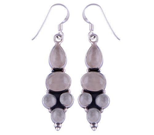 8.8gram Rose Quartz Silver Earrings