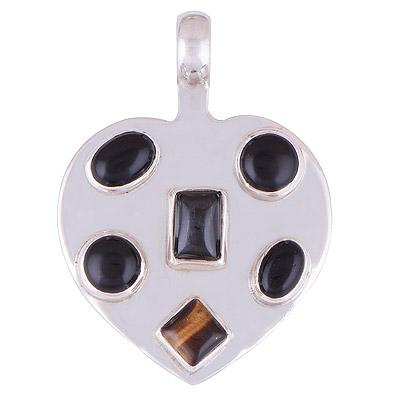 9.7gram Tiger Eye, Black Onyx Silver Pendants