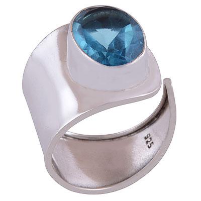 4.4gram Blue Topaz Silver Rings