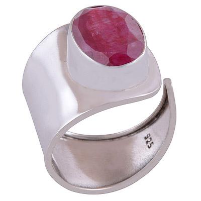 5.1gram Red Corundum Silver Rings
