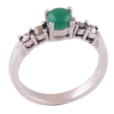 2.1gram Green Onyx, Marcasite Silver Rings