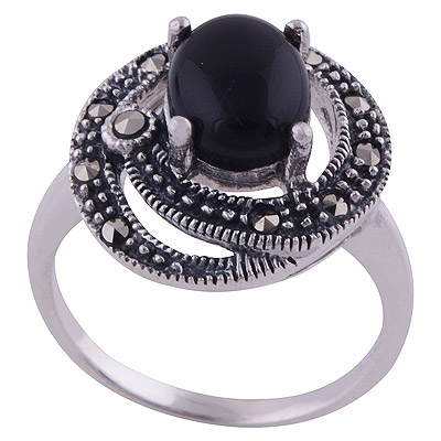 4.9gram Black Onyx,Marcasite Silver Rings