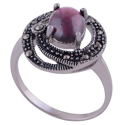 4.8gram Garnet,Marcasite Silver Rings