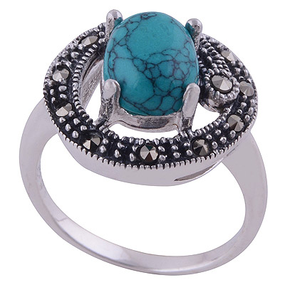 4.7gram Turquoise,Marcasite Silver Rings