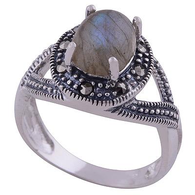 4.6gram Labradorite,Marcasite Silver Rings
