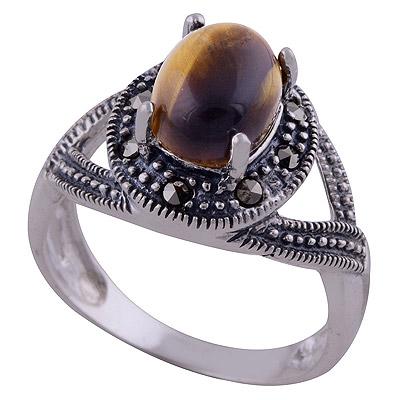 4.6gram Tiger Eye,Marcasite Silver Rings