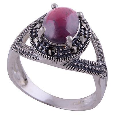 4.5gram Garnet,Marcasite Silver Rings