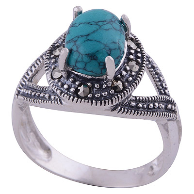 4.5gram Turquoise,Marcasite Silver Rings
