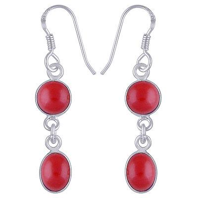 2.3gram Coral Silver Earrings