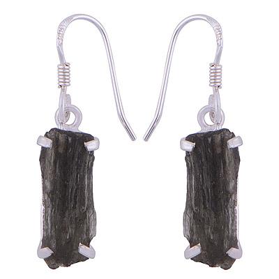 3gram Moldavite Silver Earrings