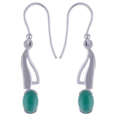 2.8gram Green Onyx Silver Earrings
