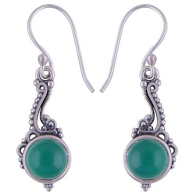 3.7gram Green Onyx Silver Earrings