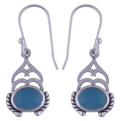 4.1gram Chalcedony Blue Silver Earrings