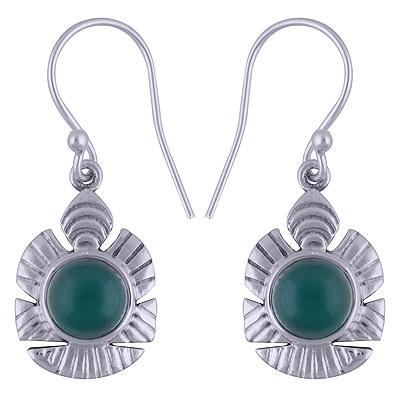 4.5gram Green Onyx Silver Earrings