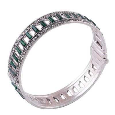 37.7gram Green Onyx, Marcasite Silver Bangles