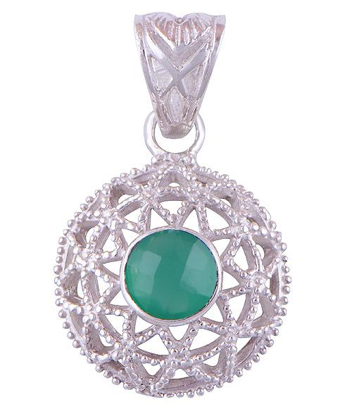 3.7gram Green Onyx Silver Pendants