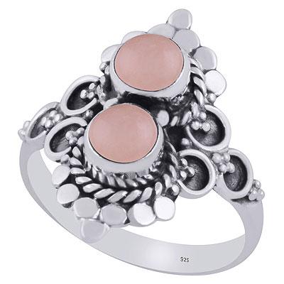 3.9gram Rose Quartz Silver Rings
