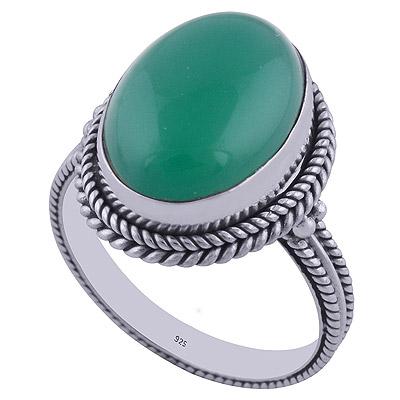 4.2gram Green Onyx Silver Rings