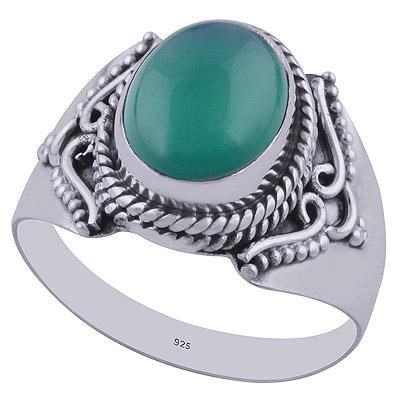 3.8gram Green Onyx Silver Rings