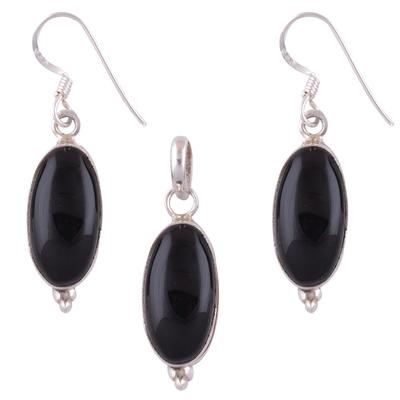 8.4gram Black Onyx Silver Jewellery Sets
