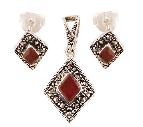 4.6gram Carnelian, Marcasite Silver Jewellery Sets