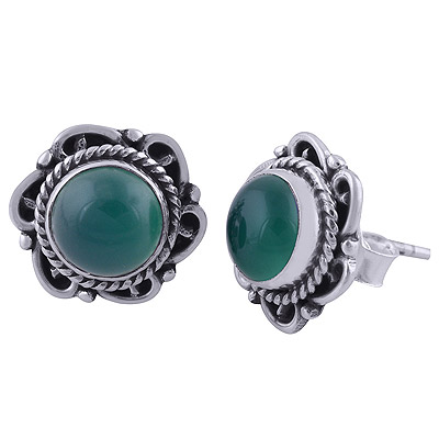 3gram Green Onyx Silver Earrings