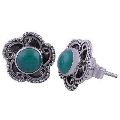 2.7gram Green Onyx Silver Earrings