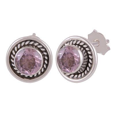 2gram Pink Cubic Zirconia Silver Earrings